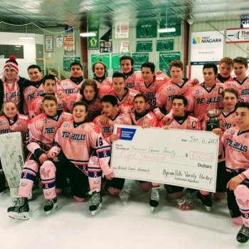 Byram Hills Varsity Ice Hockey fights Breast Cancer - Pink the Rink fundraiser